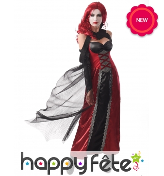 Longue robe de vampire noire rouge sexy pour femme