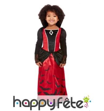 Longue robe de vampire rouge et noir pour fille