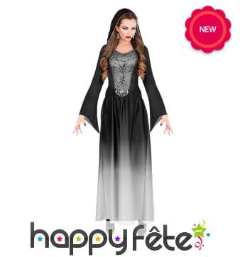 Longue robe dégradée noire de sorcière pour femme