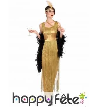 Longue robe dorée à franges style Charleston