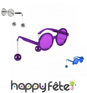 Lunettes rondes disco avec boules à facettes