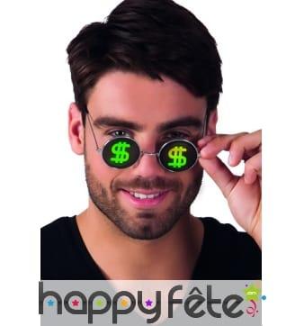 Lunettes rondes dollar en hologramme