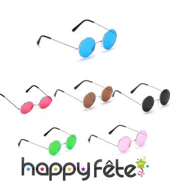 Lunettes rondes et colorées de hippie
