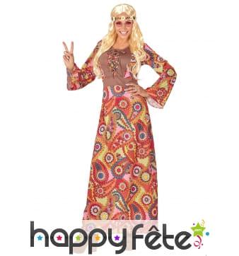 Longue robe hippie multicolore motifs 60's