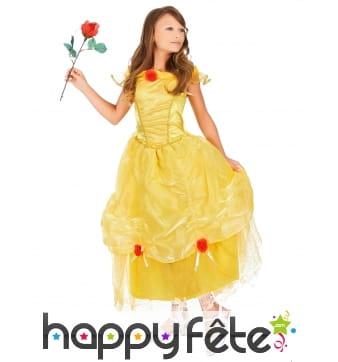 Longue robe jaune de Belle princesse pour enfant