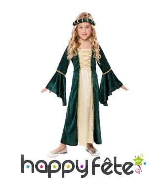 Longue robe médiévale à manches bouffantes, enfant
