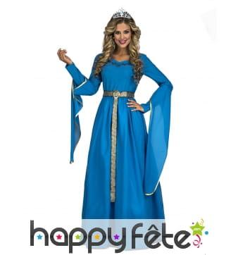 Longue robe médiévale bleue pour femme