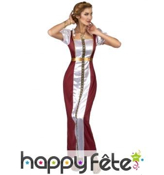 Longue robe médiévale bordeaux cintrée