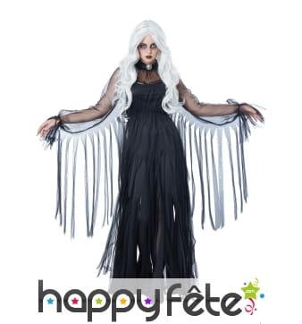 Longue robe noire de fantôme en lambeaux