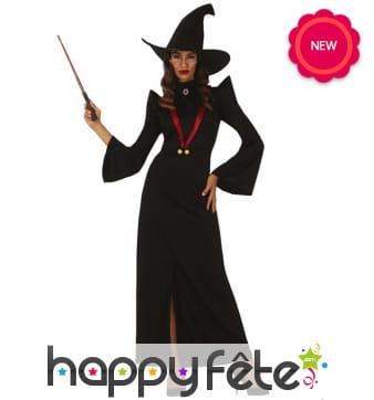 Longue robe noire de magicienne pour adulte