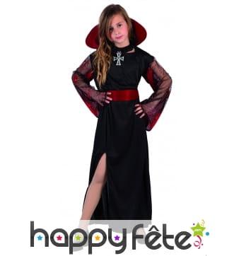 Longue robe noire de vampire pour fillette
