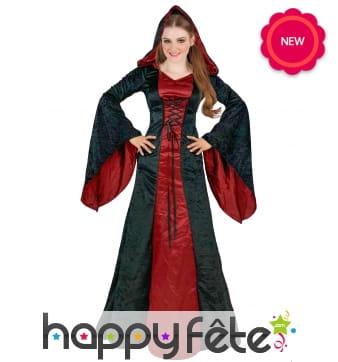 Longue robe noire et rouge de style gothique