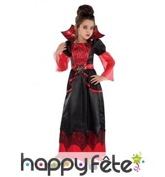 Longue robe noire et rouge de vampire pour enfant