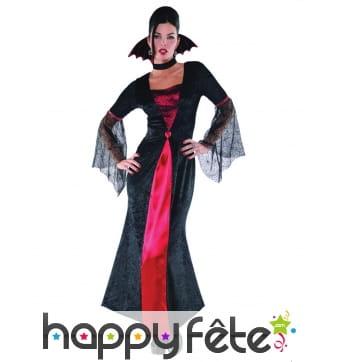 Longue robe noire rouge de femme vampire