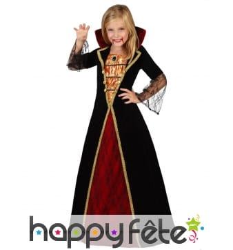 Longue robe noire rouge dorée de fille vampire