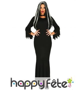 Longue robe noire unie de sorcière grande taille