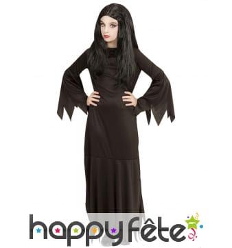 Longue robe noire unie pointue de sorcière, fille