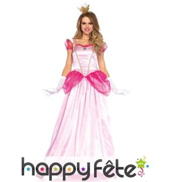 Longue robe princesse peach pour femme