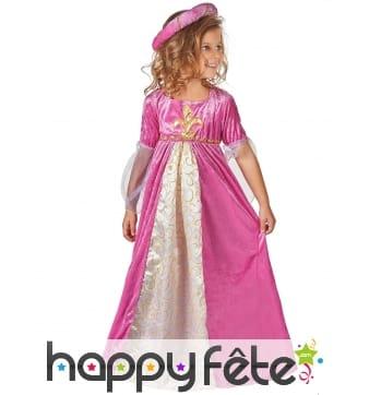 Large robe rose effet velours pour enfant
