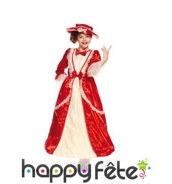 Large robe rouge de duchesse pour enfant