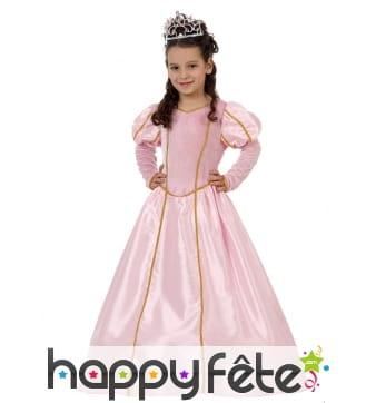 Longue robe rose de princesse pour enfant
