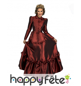 Longue robe rouge de dame du Farwest