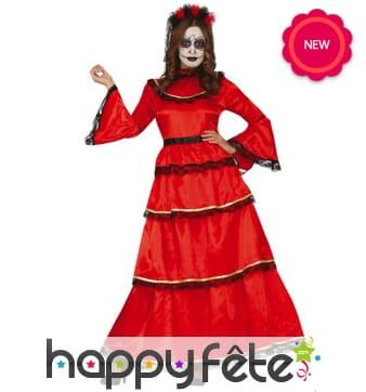 Longue robe rouge Dia de los muertos pour femme