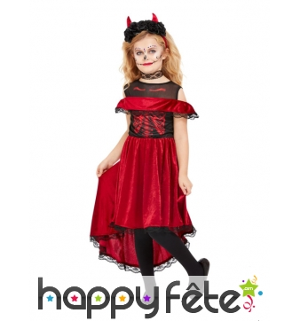 Longue robe rouge Jour des morts pour enfant