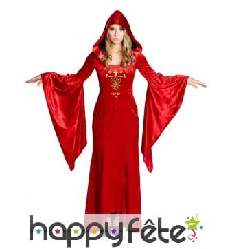 Longue robe rouge médiévale pour femme