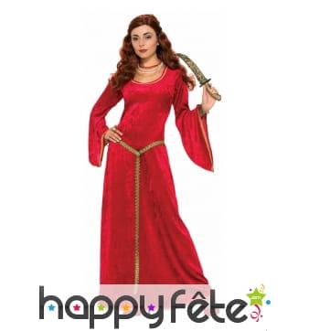 Longue robe rouge velours médiévale