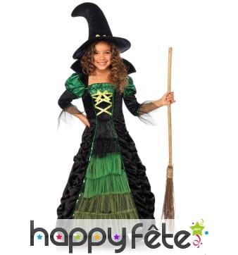 Long robe verte et noire de petite sorcière