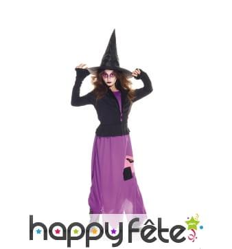 Longue robe violette de sorcière pour enfant