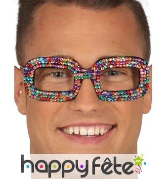 Lunettes style pop Elton Jhon avec brillants