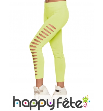Legging strech troué jaune fluo pour femme