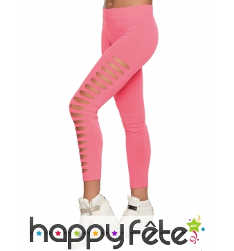 Legging strech troué rose fluo pour femme