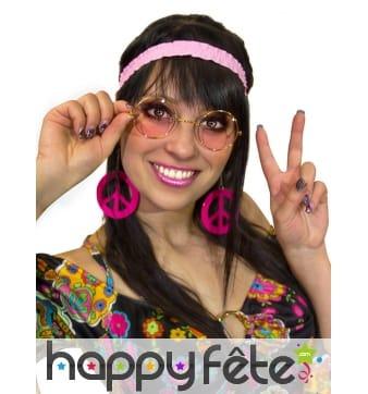 Lunettes, serre tete boucles oreilles rose hippie
