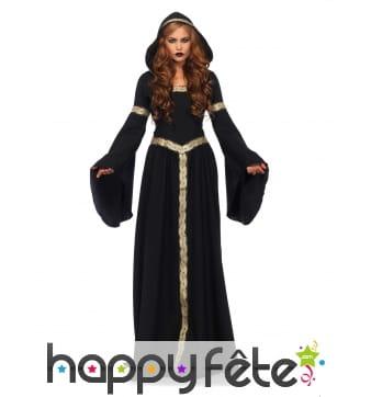 Longue tenue de sorcière celtique noir or