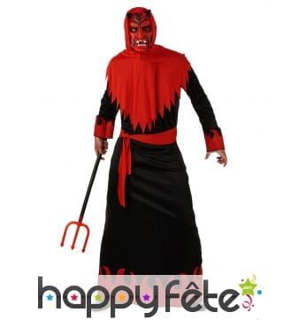 Longue tenue noire et rouge de diable pour adulte