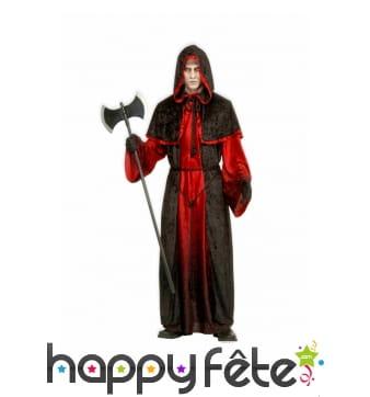 Longue tenue noire et rouge de sorcier bourreau