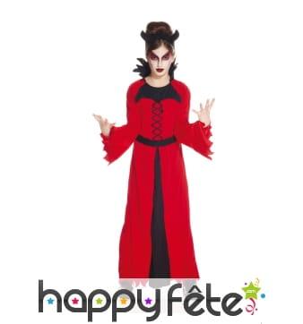 Longue tenue rouge de diablesse pour enfant