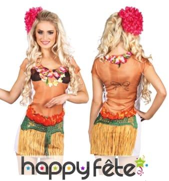 Long t-shirt imprimé danseuse hawaïenne