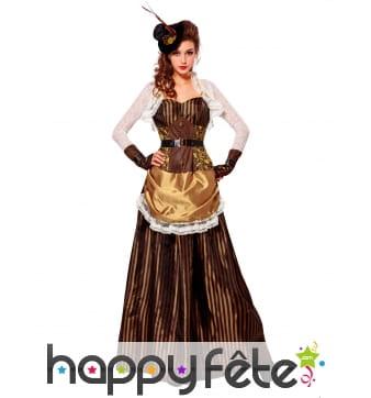 Longue tenue Steampunk baroque marron pour femme