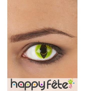 Lentilles vertes pupille de reptile