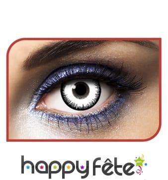 Lentilles yeux blancs contour noir
