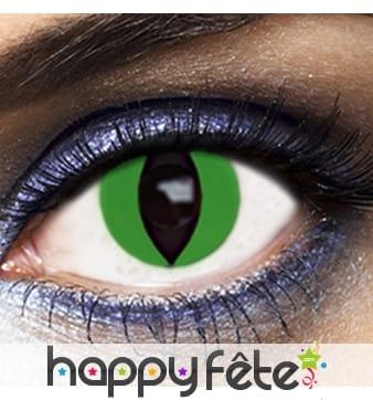 Lentilles yeux de chat fond vert