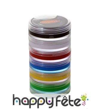Maquillages aquacolor pour visage, 6 couleurs