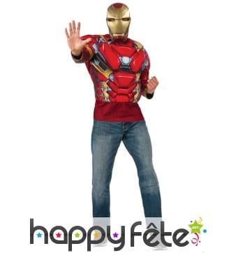 Masque avec T-shirt musclé de Iron Man pour homme