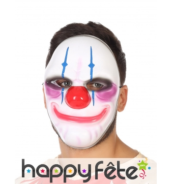Masque blanc de clown psychopathe pour adulte