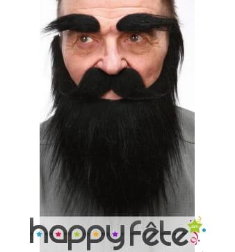 Moustache, barbe et sourcils noirs