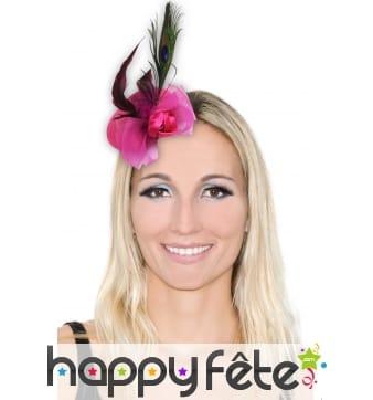 Mini chapeau barette fleur et plumes